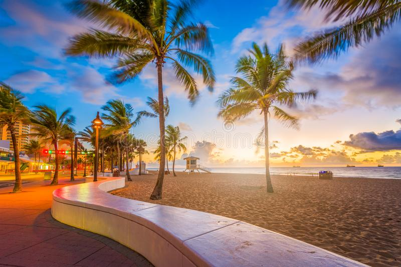 Fort Lauderdale Beach Florida. Fort Lauderdale Beach, Florida, USA at dawn stock photo