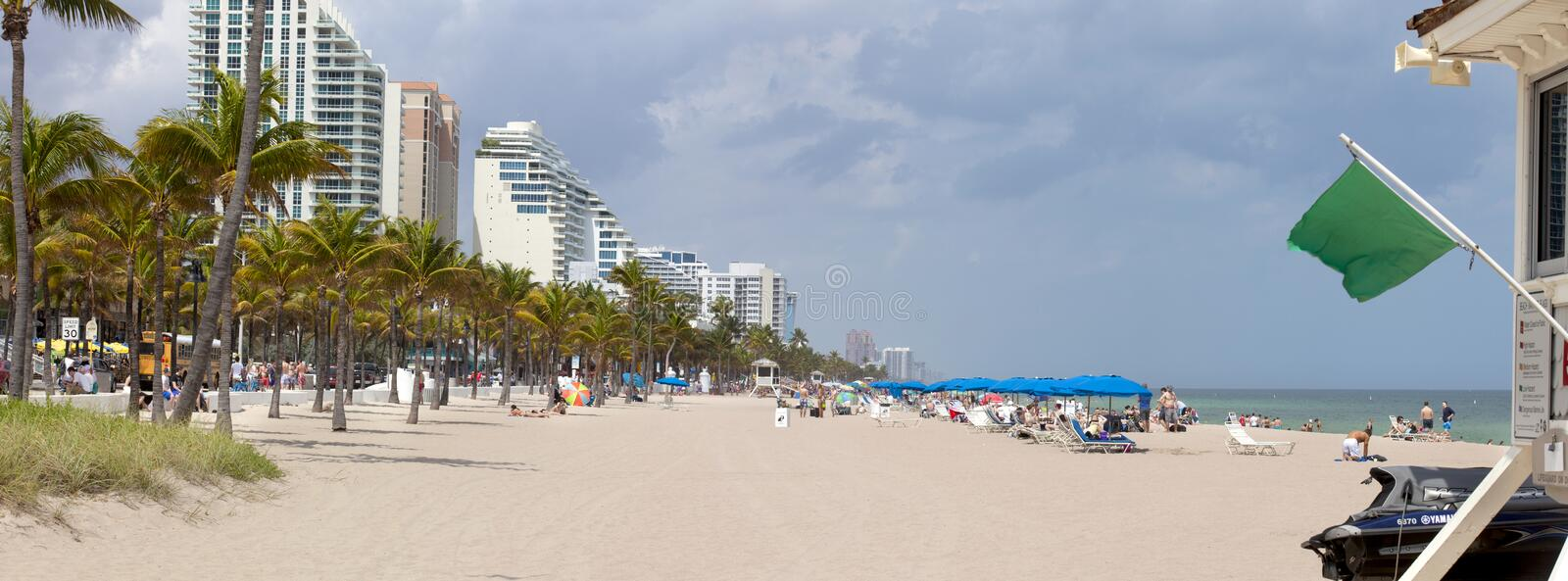 Fort Lauderdale Beach (panoramic). Wide angle view of Fort Lauderdale beach.n2 pictures were used to make this larger, wide angle view royalty free stock photos