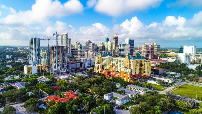 Fort Lauderdale Florida Drone Skyline Aerial royalty free stock images