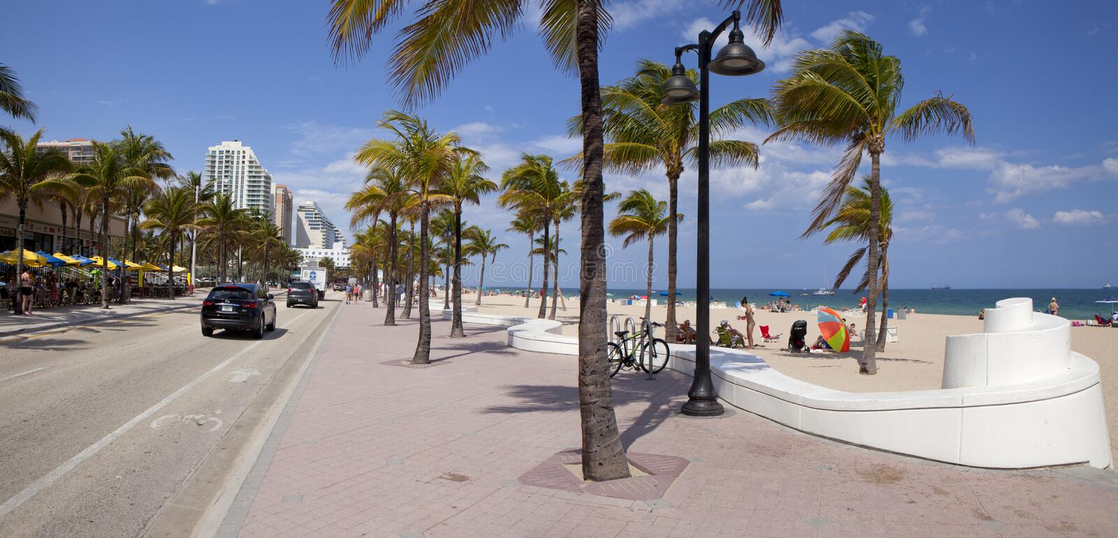 Fort Lauderdale Florida (panoramic). Wide angle view of Fort Lauderdale beach.n2 pictures were used to make this larger, wide angle view royalty free stock photo