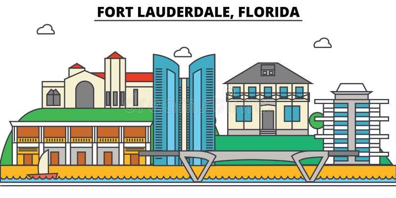Fort Lauderdale, Florida Stadtskyline, Architektur, Gebäude, Straßen, Schattenbild, Landschaft, Panorama, Marksteine lizenzfreie abbildung