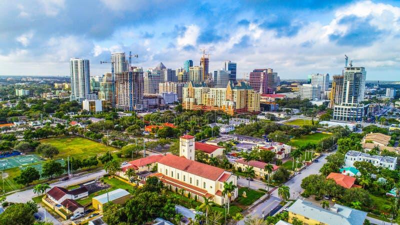 Fort Lauderdale, Florida, USA Skyline Aerial. Fort Lauderdale, Florida, USA Drone Skyline Aerial royalty free stock image