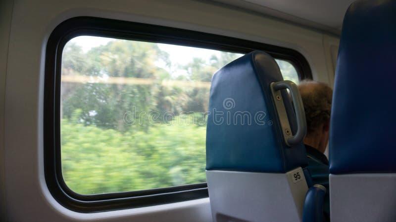 FORT LAUDERDALE, MIAMI DE V.S. - 30 AUGUSTUS, 2018 Passagier die trog het venster van achter terwijl het reizen in het tri-spoor  royalty-vrije stock foto's