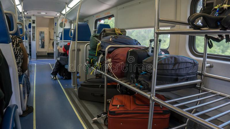 FORT LAUDERDALE, MIAMI. USA - AUGUST 30, 2018. Luggage wagon from the Tri Rail train North Bound in a busy day. Luggage wagon from the Tri Rail train North Bound stock photo