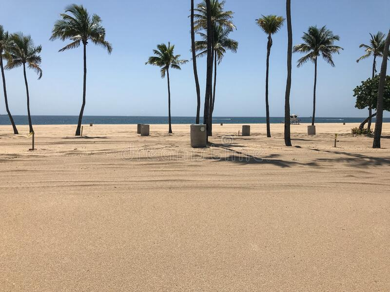 Fort Lauderdale Public Beach Remains Empty During Coronavirus Pandemic royalty free stock photos