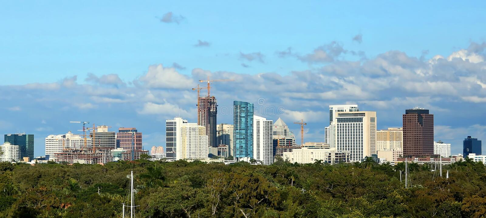 Fort Lauderdale Skyline with new construction stock photo