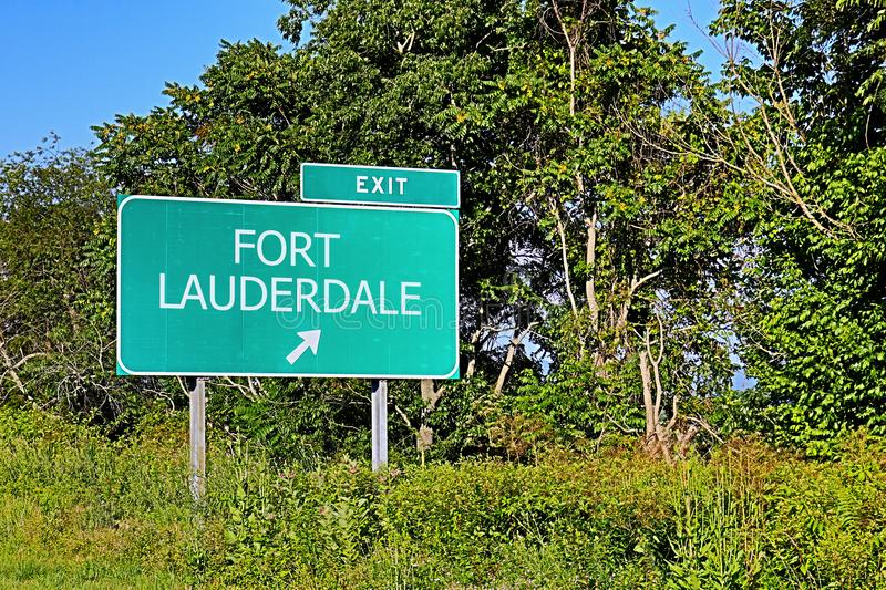 US Highway Exit Sign for Fort Lauderdale royalty free stock photography