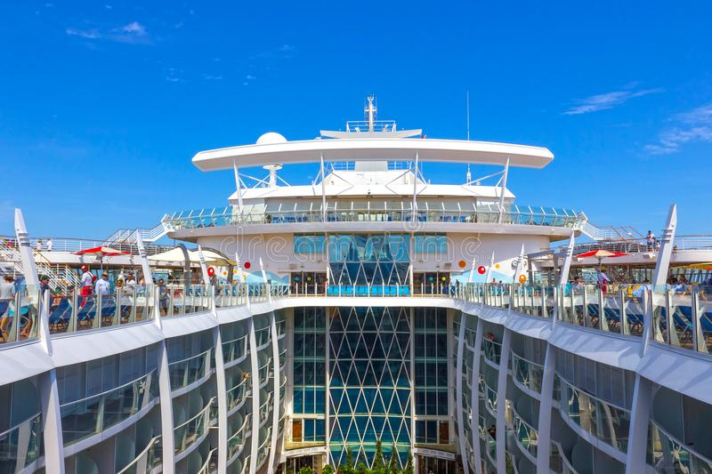 Fort Lauderdale, USA - 30 April, 2018: The upper deck with swimming pools at cruise liner or ship Oasis of the Seas by royalty free stock photo
