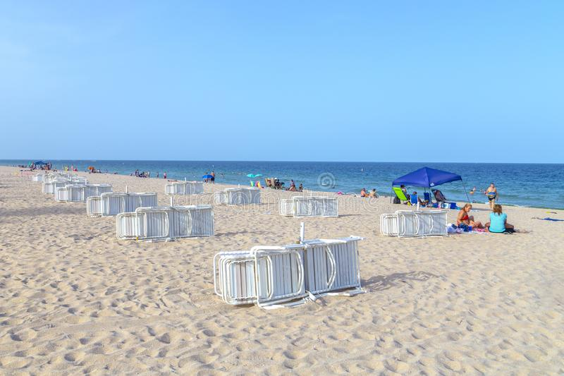 Beach with beach couches at Fort Lauderdale royalty free stock images