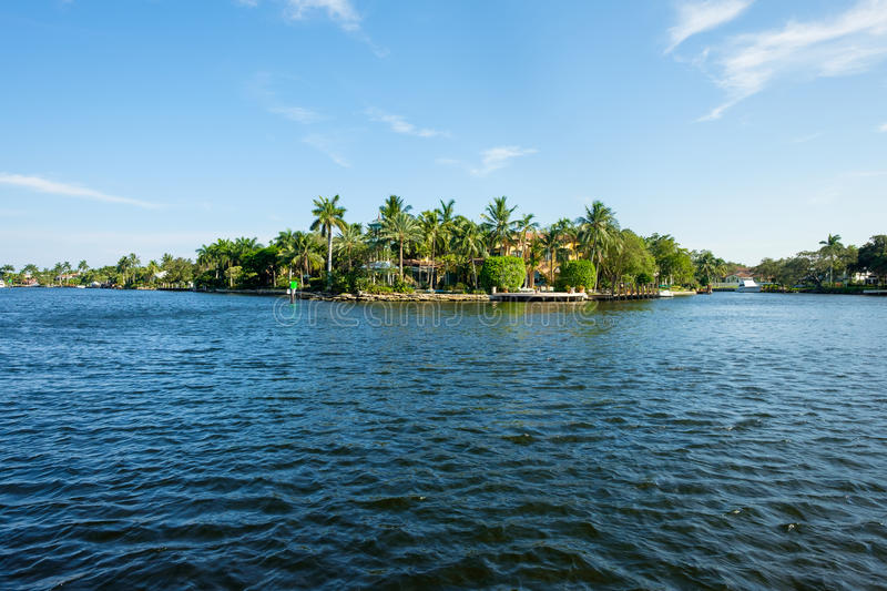 Fort Lauderdale Waterway. Scenic view of the Fort Lauderdale Intracoastal Waterway along Las Olas Boulevard royalty free stock images