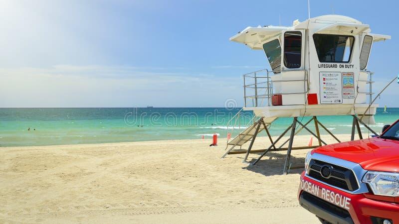 Fort Lauderdale Wyrzucać na brzeg oceanu ratuneku obraz royalty free