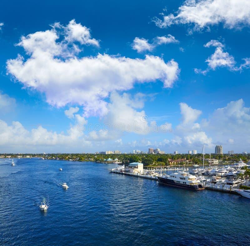 Fort LauderdaleStranahan flod på A1A Florida arkivbilder