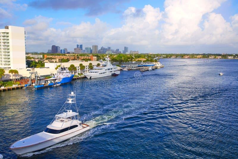Fort LauderdaleStranahan flod på A1A Florida royaltyfria bilder