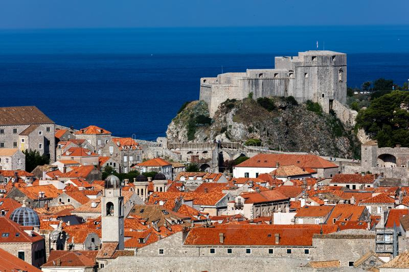 Fort Lawrence in Dubrovnik, Croatia. Medieval fortress of Lovrijenac a.k.a Fort Lawrence in Dubrovnik, Croatia, rebuilt after the 1667 earthquake. The fort is stock image