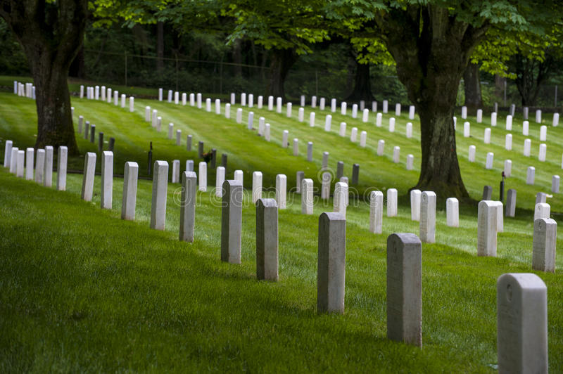 Fort Lawton Military Cemetery, Discovery Park, Seattle, Washington. A small military cemetery in the Magnolia neighborhood of northwest Seattle now part of royalty free stock image