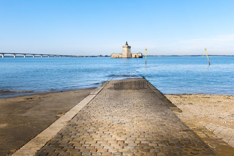 Fort Louvois at high tide, Charente-Maritime, France. Fort Louvois at high tide, Charente-Maritime in France stock photography