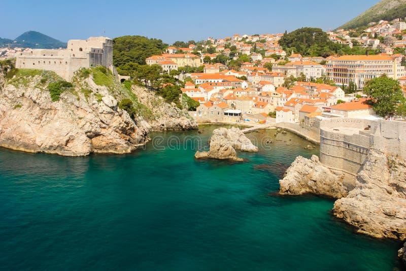 Fort Lovrijenac and citadel. Dubrovnik. Croatia. Fort Lovrijenac, A little harbour, bokar fort, city walls and old town. Dubrovnik. Croatia stock images
