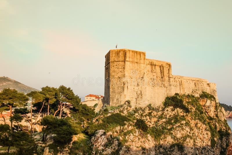 Fort Lovrijenac. Dubrovnik. Croatia. The massive Fort Lovrijenac at sunset. Dubrovnik. Croatia stock photos