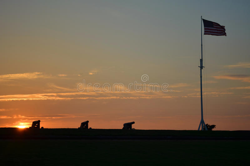 Fort Macon N.C. au coucher du soleil photo libre de droits