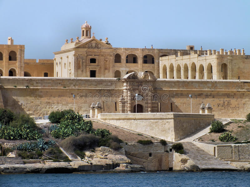 Fort Manoel. Was built by the Knights of Malta between 1723 and 1755, under the patronage of Grand Master Manoel de Vilhena. It was an active military royalty free stock images