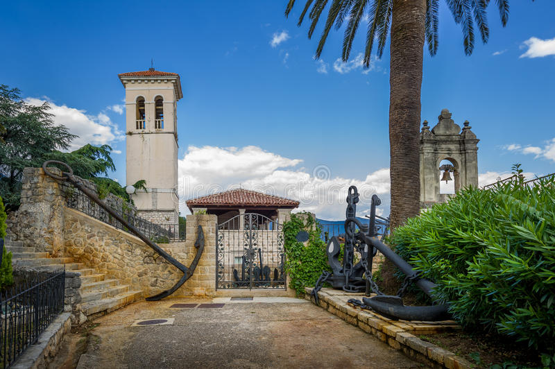 Fort Mare museum in Herceg Novi. Fort Mare fortress and historical museum with huge old anchors and ship's chains. Herceg Novi. Montenegro stock photos
