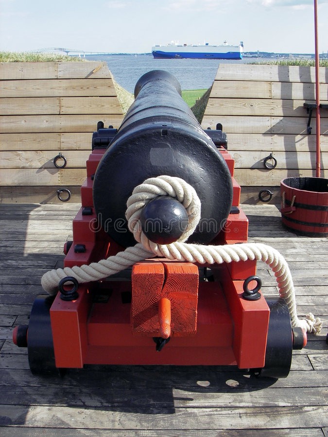 Fort McHenry Cannon. Photo of a Fort McHenry canon in Baltimore Maryland. The successful defense of this fort against British gunships on September 14, 1814 royalty free stock photography