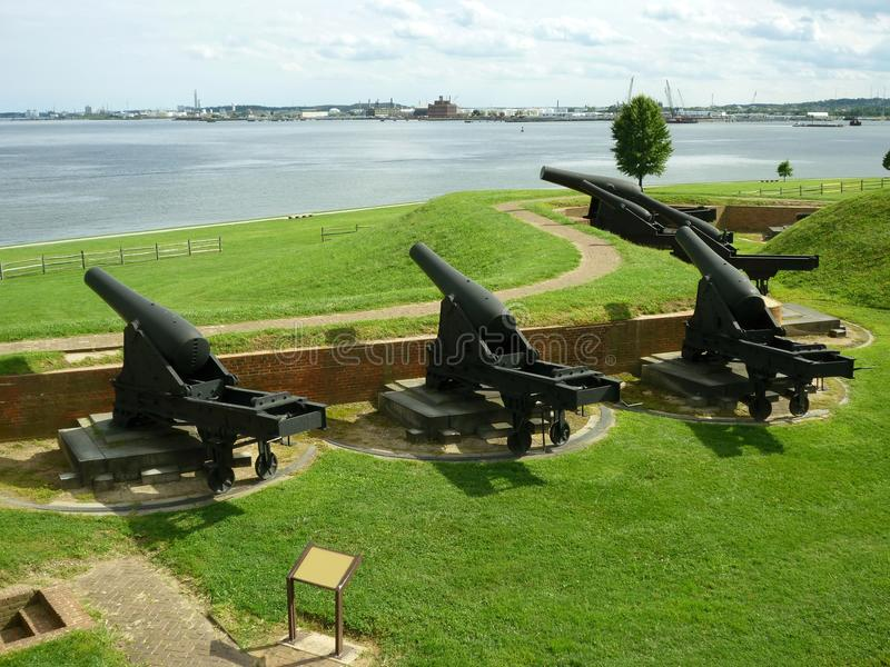 Fort McHenry Civil War Canons. Photo of civil war canons overlooking the patapsco river at fort mchenry in baltimore maryland. These canons were placed in stock image