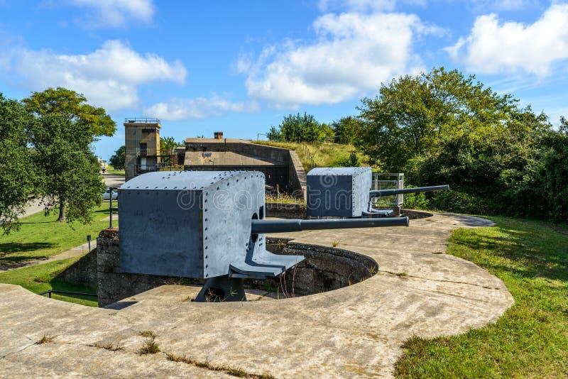 Fort Monroe Virginia 3 tum kust- vapenpjäsvärn arkivfoto