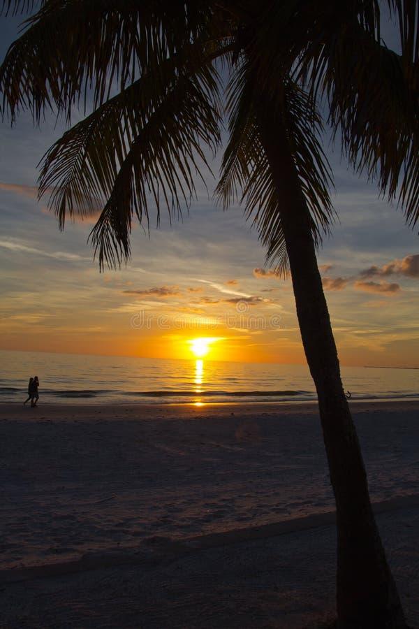 Fort Myers Beach, coucher du soleil images libres de droits