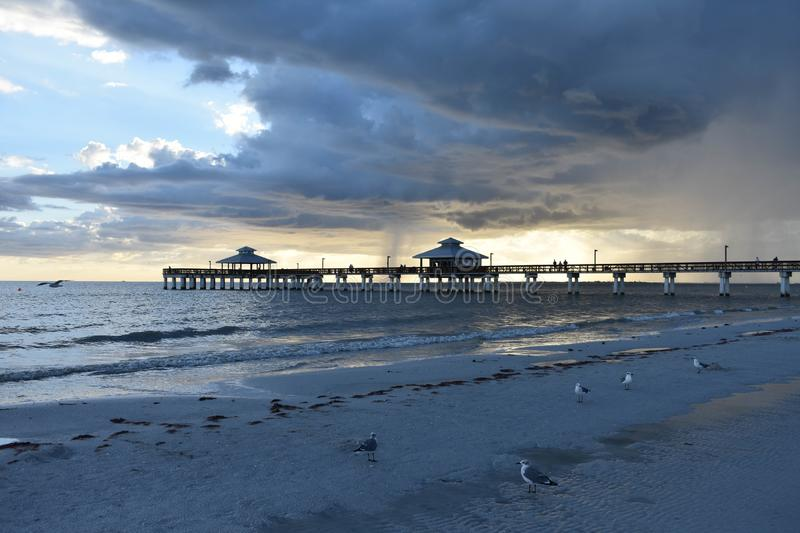 Fort Myers Beach Fishing Pier At Sunset stock images