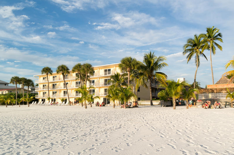Fort Myers Beach in Florida, USA. Hotel and people on beach of Fort Myers Beach on Estero Island at west coast of Florida, USA stock photo