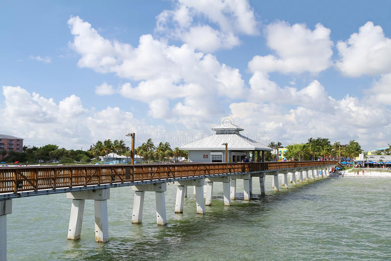 Fort Myers Beach Pier on a beautiful day royalty free stock photo