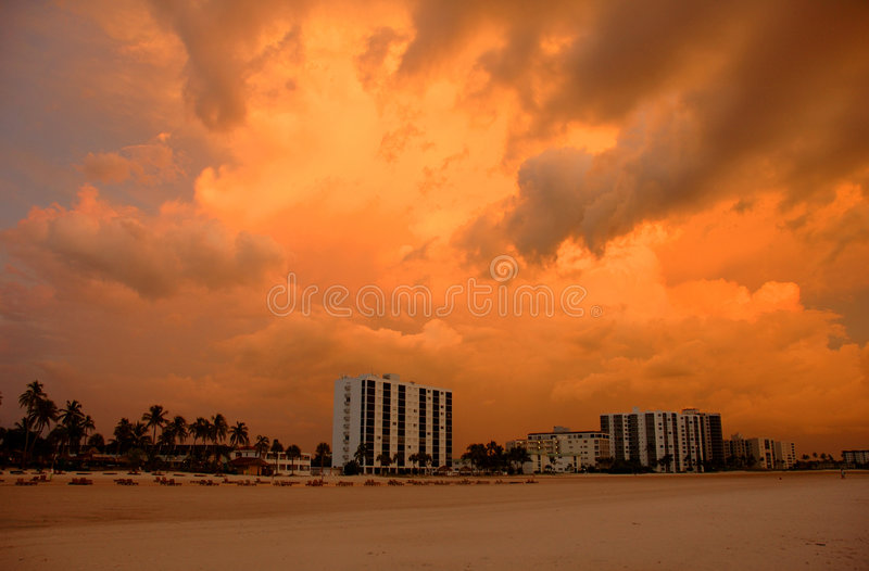 Fort Myers Beach at sunset stock photos