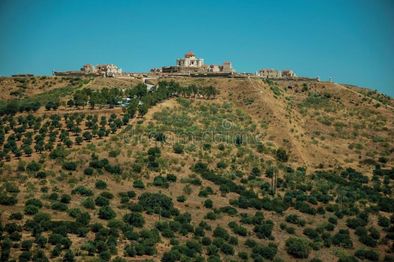 Fort na fortecy zakrywaj?cym zielonymi drzewami oliwnymi wzg?rze zdjęcie stock