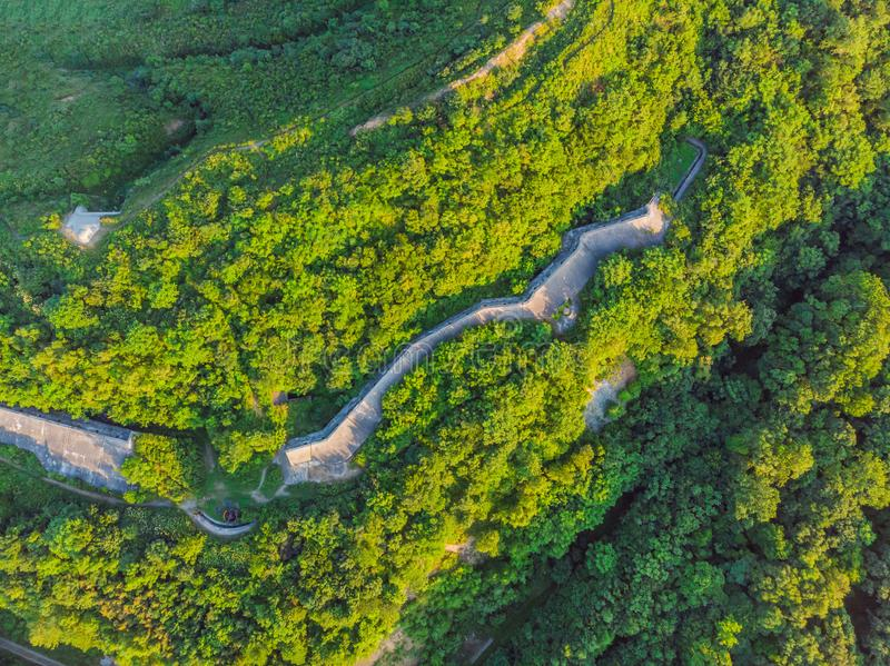 Fort No. 7 in Vladivostok. Russia Aerial photo from drone.  royalty free stock photos