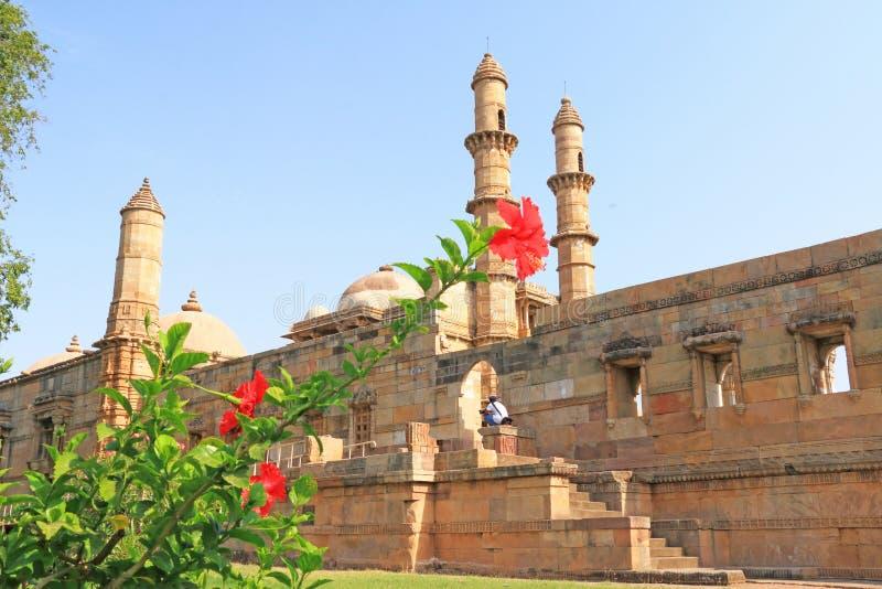 Fort och torn på Pavagadh; Arkeologiskt parkera världsarvet royaltyfri foto