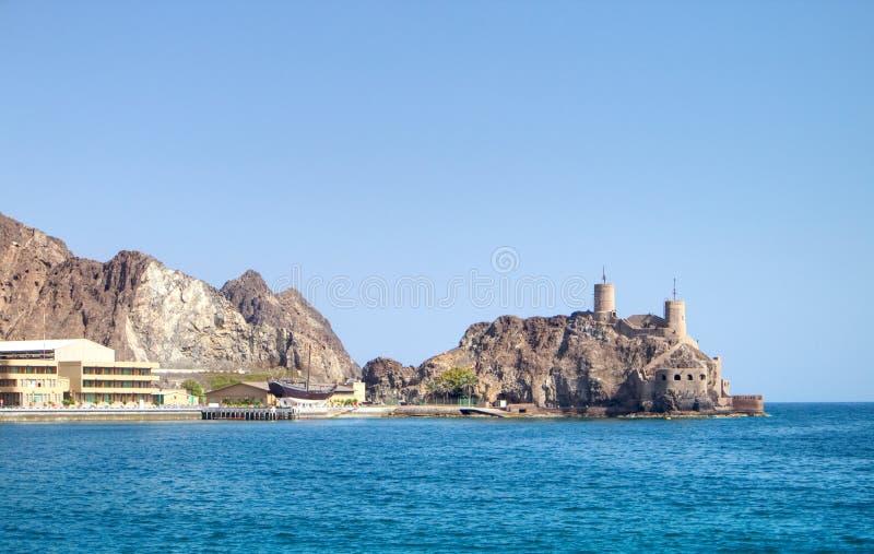 Fort på kusten av Oman royaltyfri fotografi