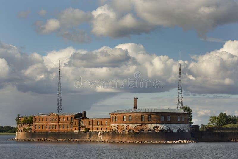 Fortifications of Fort `Peter I` in Kronstadt, St. Petersburg, Russia. stock image