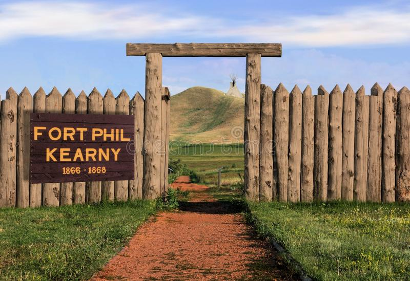 Fort Phil Kearny. Old West Fort along the Bozeman Trail Historic Site in Banner/Story Wyoming stock photos