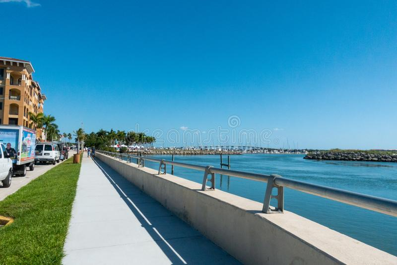 View of the Intracoastal Waterway, bridge, sailboats and farmers market. Fort Pierce, Florida/United States - 04/20/19: View of the Intracoastal Waterway, bridge stock photos