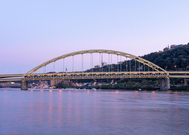 Fort Pitt Bridge and Monongahela River in Pittsburgh in Pennsylvania.  stock photo