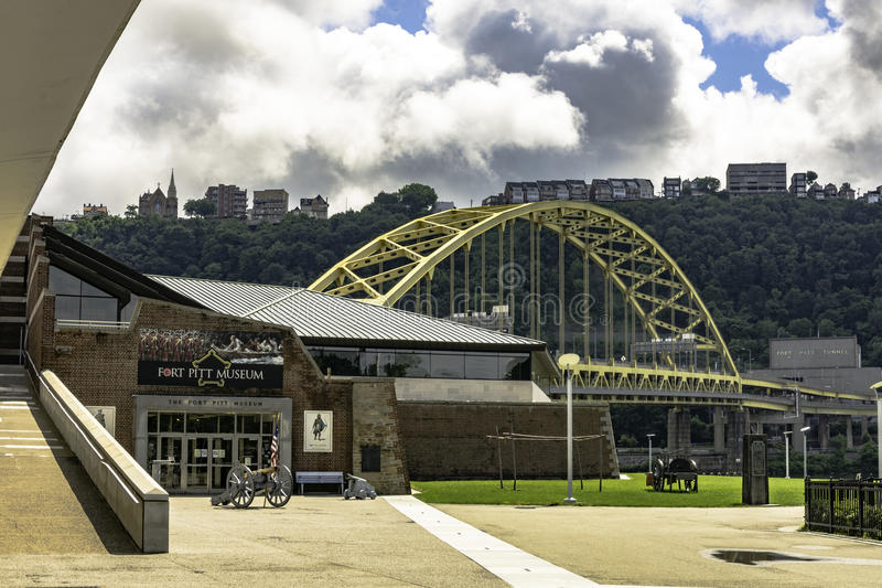 Fort Pitt Museum entrance. Pittsburgh, Pennsylvania, USA - July 30, 2016: View of the entrance of the Fort Pitt Museum in Point State Park with the entrance to stock photos