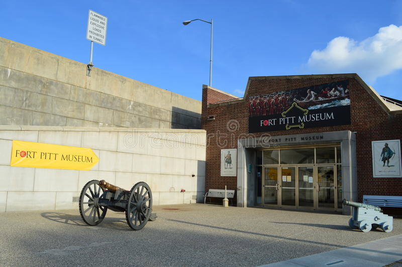The Fort Pitt Museum and the outline of the fort's old wall royalty free stock photo