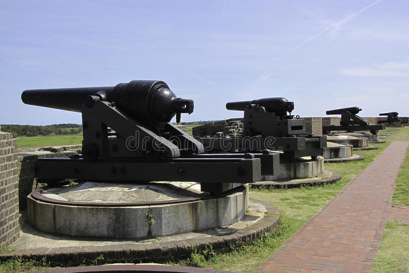 Cannons. On top of Fort Pulaski National Monument on Cockspur Island in the Savannah River, Georgia, USA royalty free stock photos
