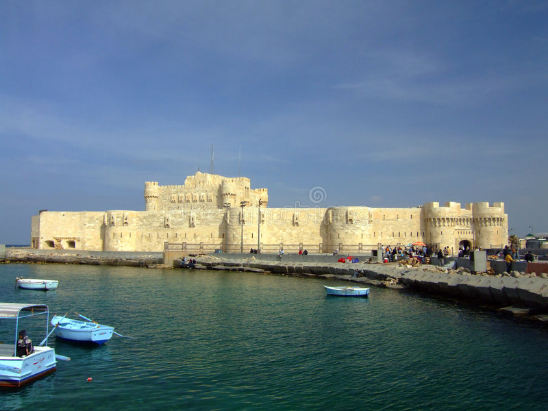 Fort Qaitbey in Alexandria royalty free stock photos
