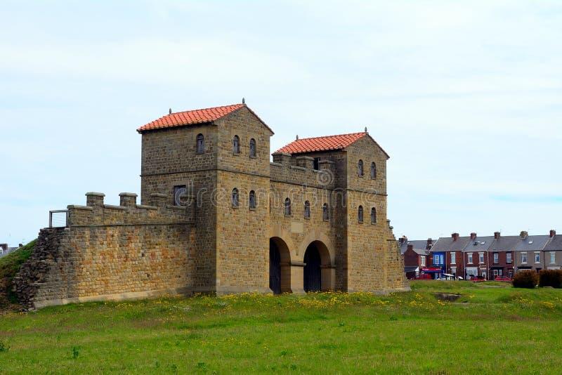 Fort romain d'Arbeia, boucliers du sud, Angleterre images libres de droits