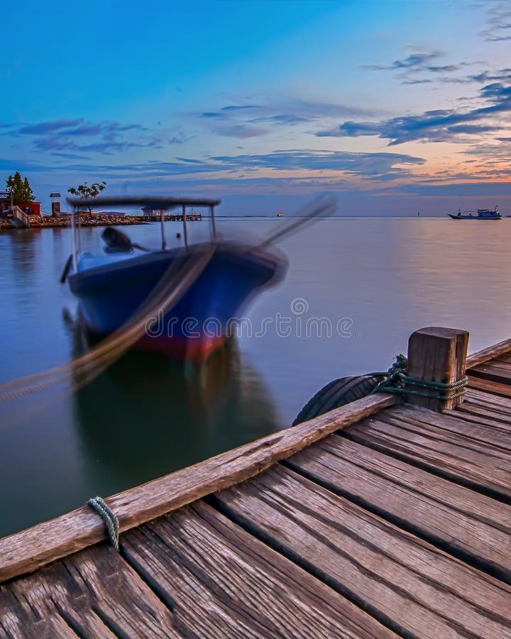 Sunrise at Old Pier Of Fort Rotterdam stock photo
