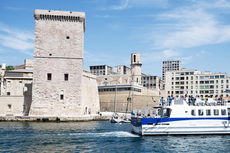 Fort Saint-Jean in Marseille, France. MARSEILLE, FRANCE - MAY 17, 2015: A view of the Fort Saint-Jean, built in the seventeenth century, in Marseille, France stock photos