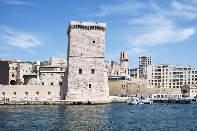 Fort Saint-Jean in Marseille, France. MARSEILLE, FRANCE - MAY 17, 2015: A view of the Fort Saint-Jean, built in the seventeenth century, in Marseille, France royalty free stock images