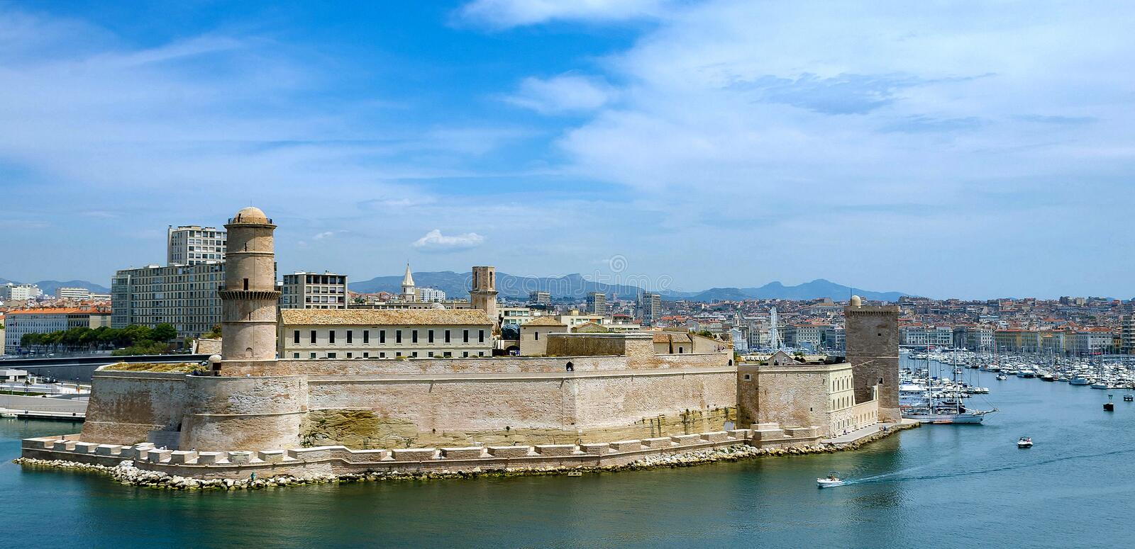 Fort Saint-Jean. The fort of St. Nicholas is one of two fortresses that were built in the 17th century at the entrance to the Old Port of Marseilles by the royalty free stock photo